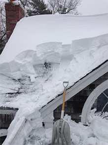 The grain shovel with repair was used for heavy wet snow