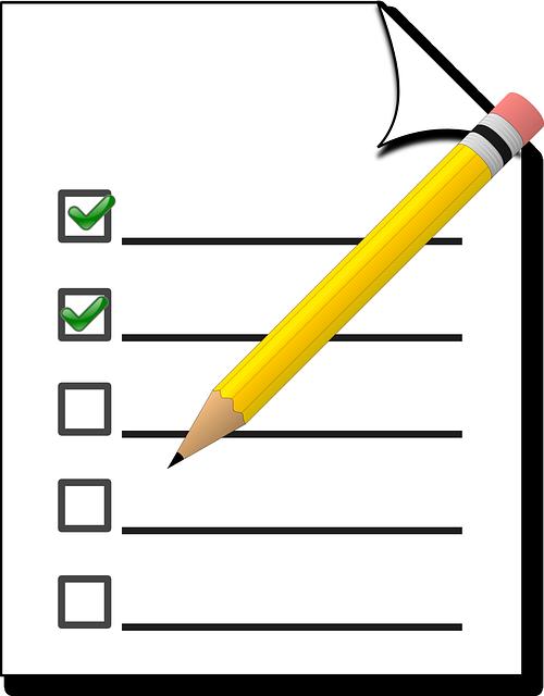 Checklist of your goals.