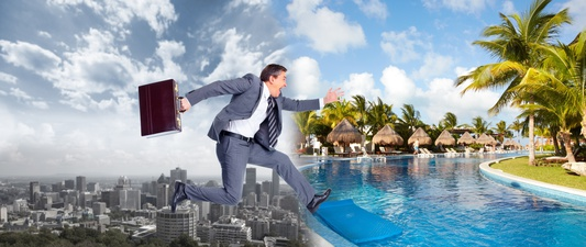 Businessman moving to a new environment